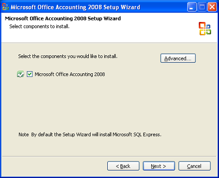 Install Office Accounting on Windows XP