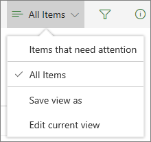 Items that need attention under the View options menu