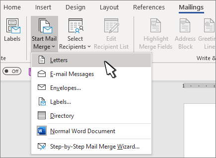 Mail Merge Start menu with Letters selected