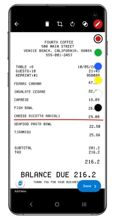 Receipt with ink tools displayed on the right side of the screen