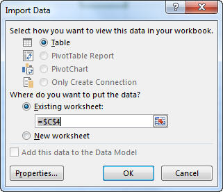 Import Data dialog box in Excel