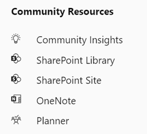 Yammer connected community resources