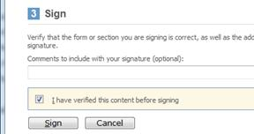 Signing dialog box showing checkbox and sign button