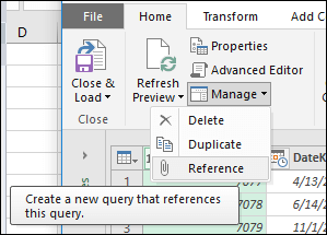Power Query - Query Management menu in Query Editor