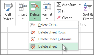 Click the arrow under Delete and then click Delete Sheet