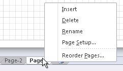 Page tab right-click menu.