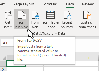 Selecting Text/CSV from the Data tab