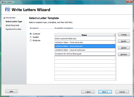 select a letter template