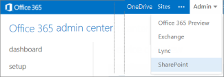 A screenshot of the Admin drop-down menu as it appears in the Office 365 Admin Center
