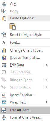 Context menu for chart