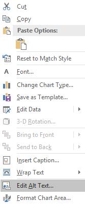 Context menu for chart