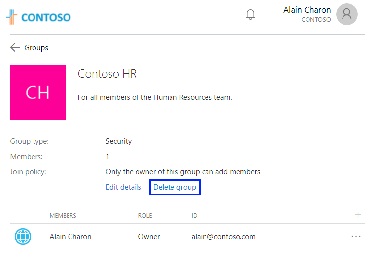 Group page with the Delete group link highlighted