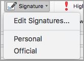 Signature menu