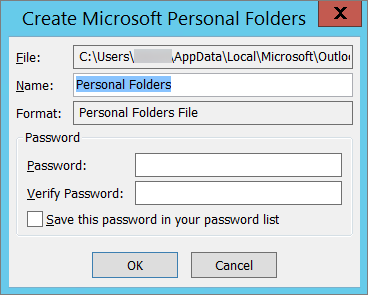 If you don't want to password protect your .pst file, choose OK.