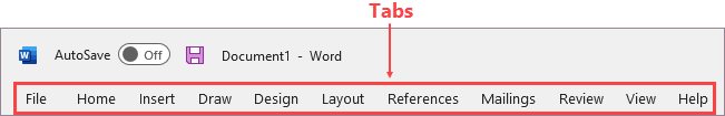 Tabs on the ribbon