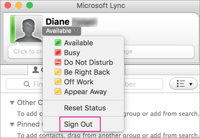 To stop the Lync application, choose Sign out.