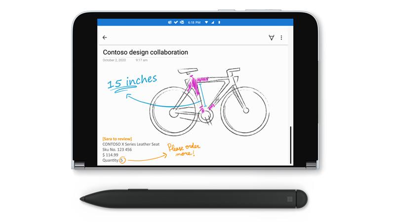 Surface Duo with a drawing in OneNote and a Surface Slim Pen next to it