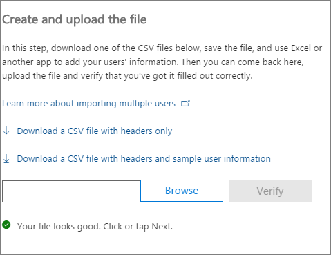 Your CSV file is verified