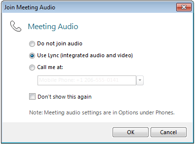 Join Meeting Audio dialog box
