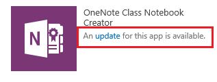 Screenshot of the Class Notebook Creator app update link.