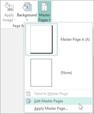 Screen shot of the Edit Master Pages drop-down in Publisher.