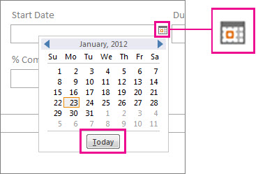 The Date Picker with the Today button highlighted.
