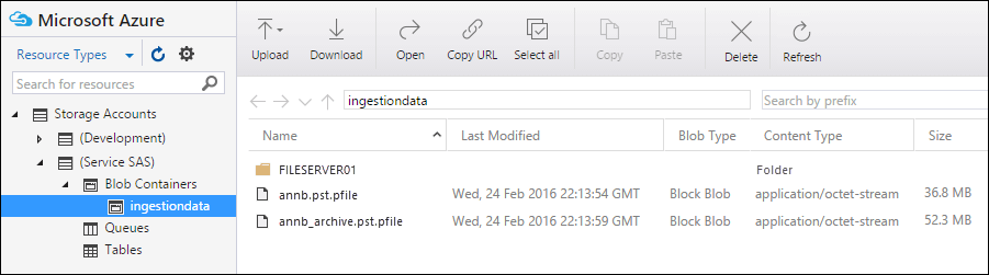 Azure Storage Explorer displays a list of the PST files that you uploaded