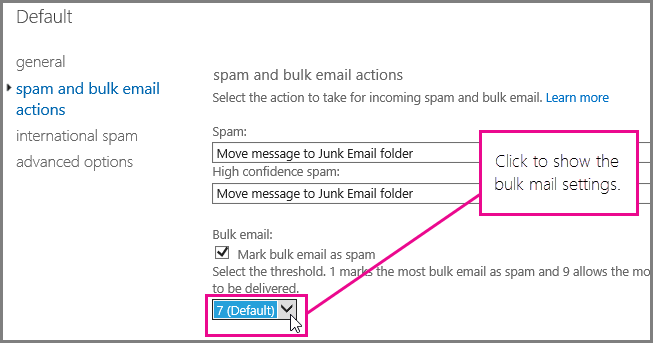 Setting the bulk mail filter in Exchange Online