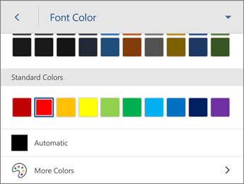 Font Color command, showing Automatic color setting