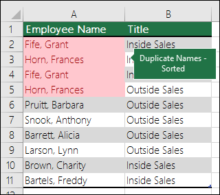 Conditional formatting with Duplicates values sorted to the top of a list