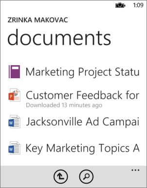 Documents list in Office app