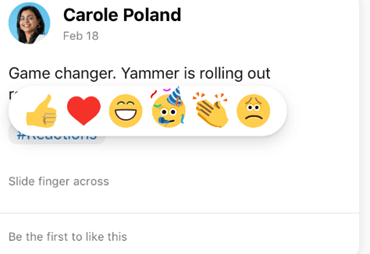 Screenshot showing pressing a reaction on the Yammer mobile app