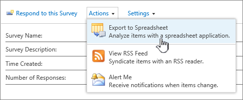 Survey export to spreadsheet button highlighted