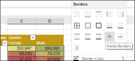 Image of applying an Inside Border to a cell range from Home > Font > Borders.