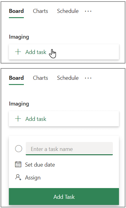 Screenshot of the Add task box in Planner