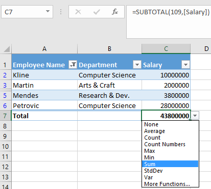 Video: Add a Total row to a table - Excel
