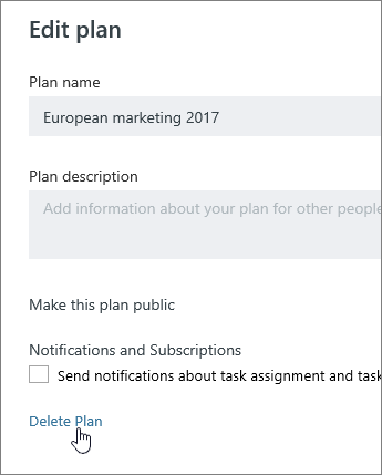 From Edit a plan, click Delete plan
