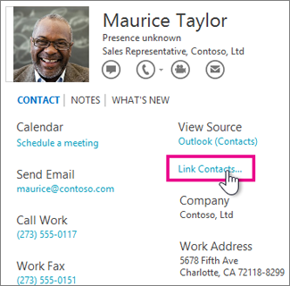 The Link Contacts button in the contact card