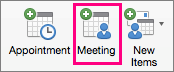 The Meeting option is highlighted on the Home tab.