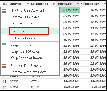 Insert custom column