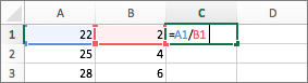 Example of using two cell references in a formula