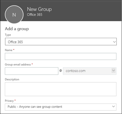 Create a new Office 365 Group, a new distribution list, or a new security group
