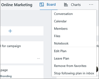 Click the three dots for a full list of tools for Planner