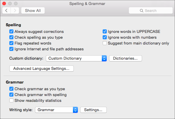 Changes settings that affect checking of spelling and grammar in the Spelling & Grammar dialog box.