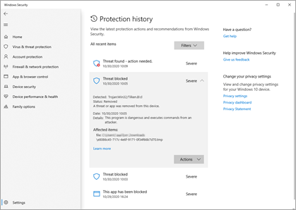 The Protection History pane in Windows Security showing several sample incidents.