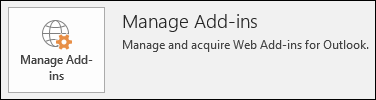 Manage add-ins button in Outlook