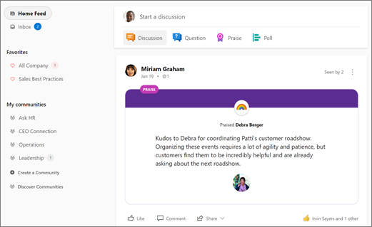 Discover new conversations in your Yammer Home Feed