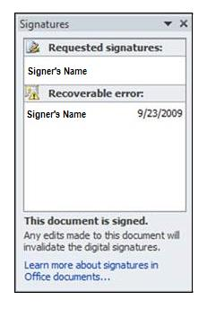 Signatures pane, recoverable error