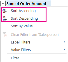 Ascending and Descending sort options