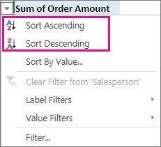 Ascending and Descending sort options